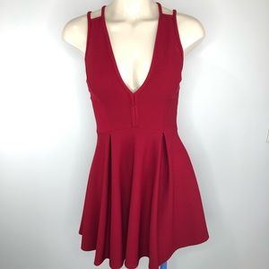 WINDSOR-Deep Red Sexy strap up back-textured S